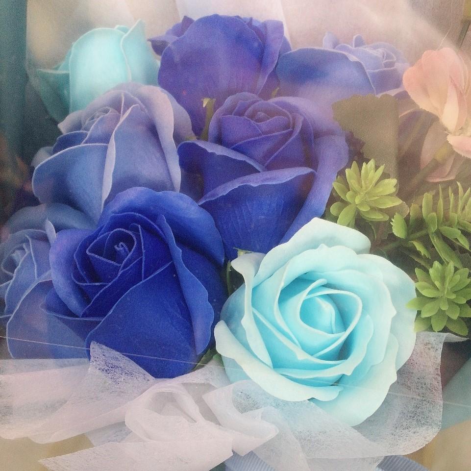ソープフラワー花束 青